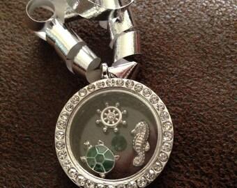 Turtle seahorse ship wheel nautical Christmas ornament joy of shopping Locket