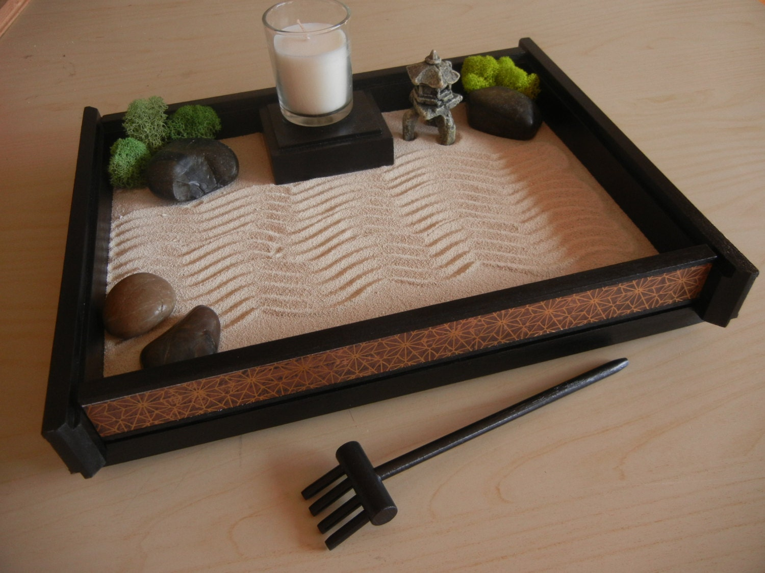 M05 medium desk or table top zen garden with asian deco for Table zen garden