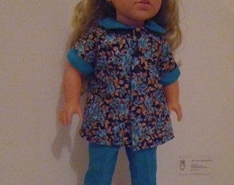 All blue flowered shirt and Capris for doll 18 inch