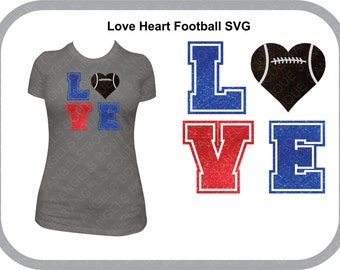 Love Heart Football SVG Cutter Design INSTANT DOWNLOAD