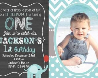 20 Elephant Invitation, Elephant Birthday Invitation, Boys Elephant Invitation, Cheveron Chalkboard (envelopes included)