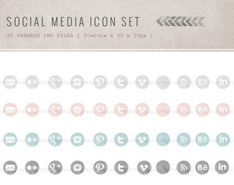 Premade Social Media Icons Set Vol 2, INSTANT DOWNLOAD