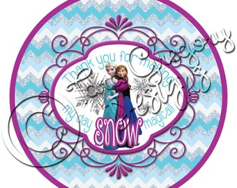 Frozen Inspired Chevron Thank You Tags