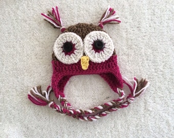 Crochet Owl Beanie / Made to Order