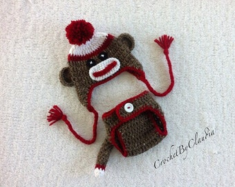 Crochet Sock Monkey Beanie and Diaper Cover With Tail Photo Prop Set/ Sock Monkey/ Made to Order