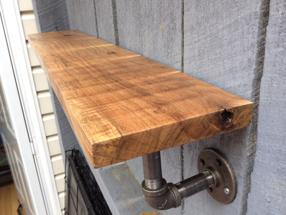 Reclaimed Wood And Pipe Shelf