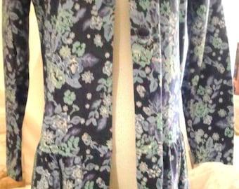 Vintage blue floral jacket top