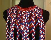 Red, White and Blue Braided Handkerchief Necklace