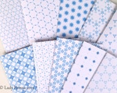 Post Christmas SALE - blue and white card set, snowflake, geometrical pattern handmade cards with envelopes, blank cards, geometric cards