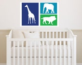 "Jungle Animal Set of 3 Decals - Nursery and Children's Room  - Vinyl Wall Decal 17""H x 26""W"