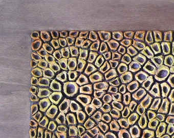 "Wall Sculpture - Wood Wall Panel -  Textured Abstract Painting - 3D Wall Art - Size 24"" X 40"""