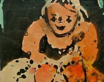 "Josephine Mahaffey Potato Print ""Paula, First Grandchild"""