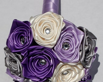 4 inch Purple, Silver and White Satin  Rose Wedding Bouquet - Customize to your colours