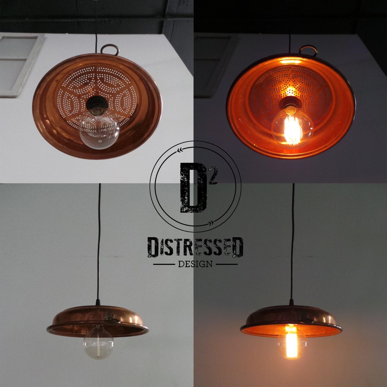 Copper Colander Pendant Light
