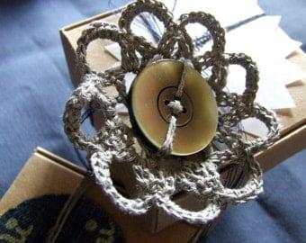 Flower-button brooch
