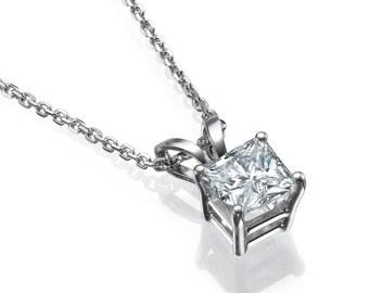Princess Diamond Pendant Necklace, 14K White Gold Necklace, Solitaire Diamond Pendant, Anniversary Gift, Bridal Jewelry, Wedding Jewelry