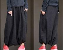 063---Womens Multi Washed Linen Cotton Blend Harem Pants, Skirt Pants, Thai Pants, Pantskirt, Japanese Diaper Pants, Fisherman's Pants.