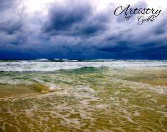 Beach Photography, Storm, Waves, Sunset photo, Landscape, Ocean photography, Coastal Wall Art, Nautical, HDR
