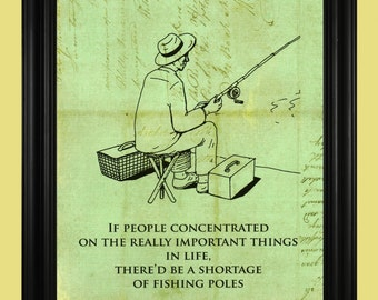 Fisherman Line Drawing, Man with Fishing Pole Illustration ...