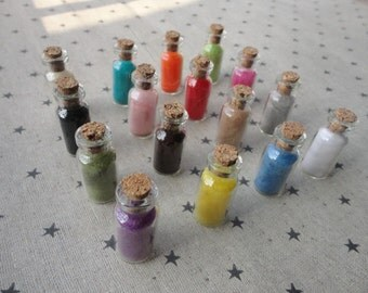 100pcs mini glass bottles with corks--mixed color Cashmere filling--35x16mm--GF41
