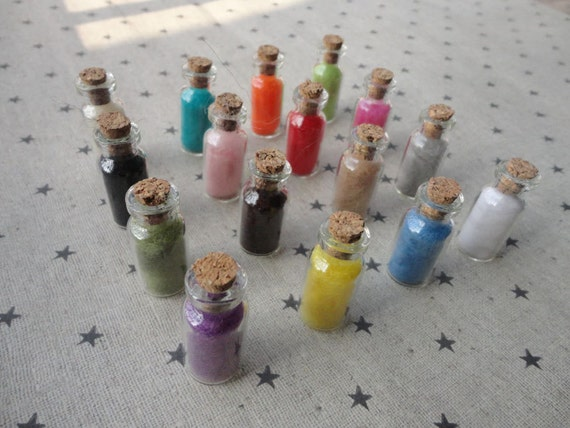 30pcs mini glass bottles with corks mixed color cashmere for Colored glass bottles with corks