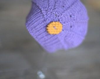 Newborn photo prop - merino cookie violet poppy hat
