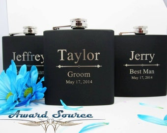 Black Groomsman Flask Set