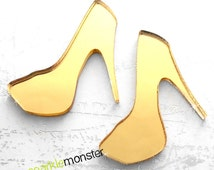 Glam High Heel Cabs - 2 pcs, gold mirror, cabochon, laser cut acrylic, couture