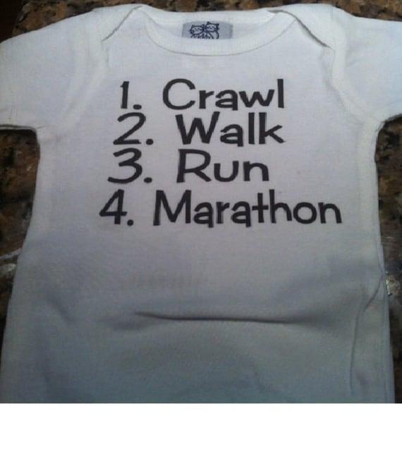baby runner Marathon shirt running baby clothes infant one