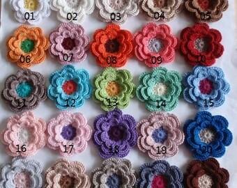 4 crochet flowers applique CH-039-01