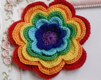 Large crochet flower applique In Rainbow CH-042-01