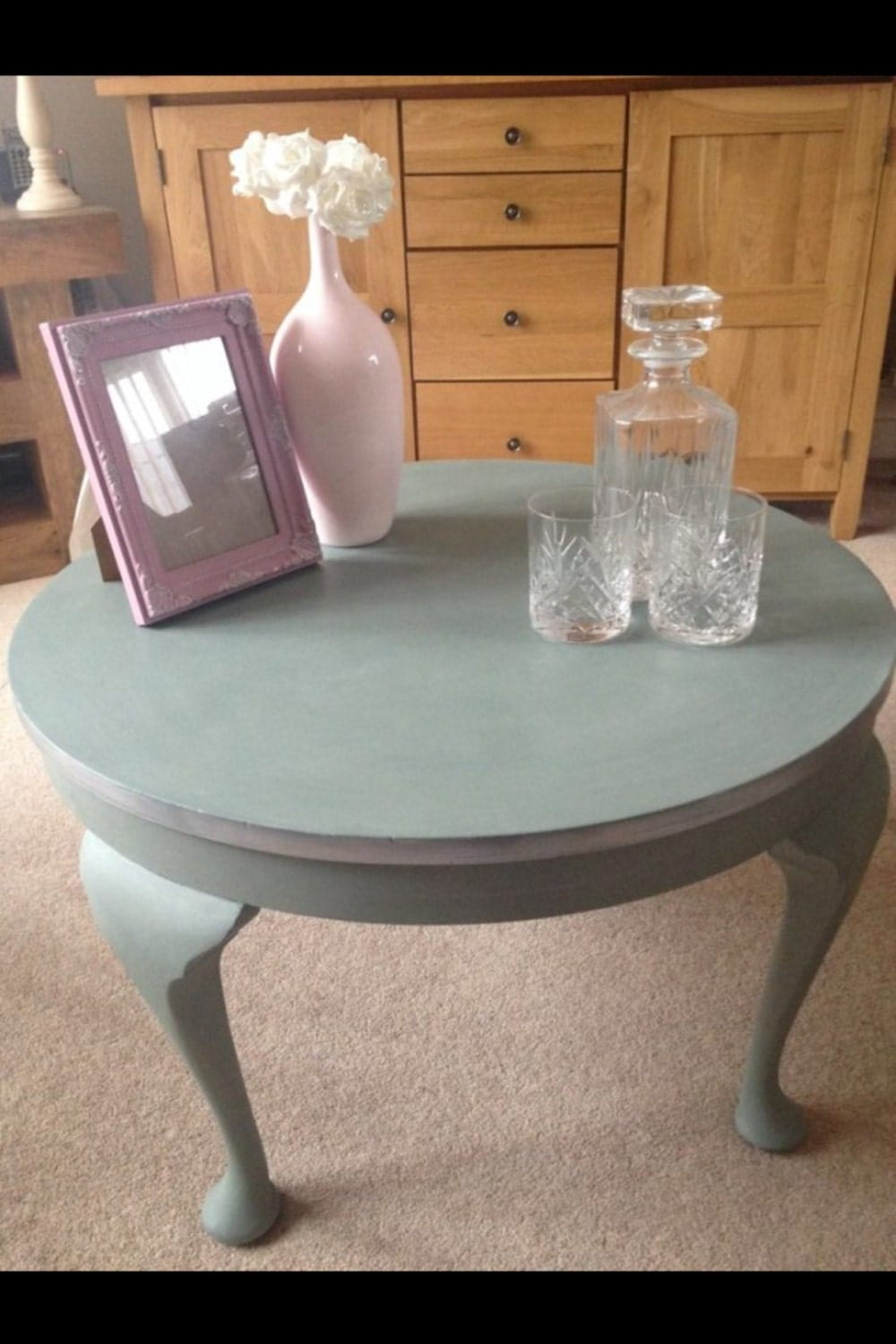 Annie Sloan Painted Duck Egg Round Coffee Table By Butterflyavenue