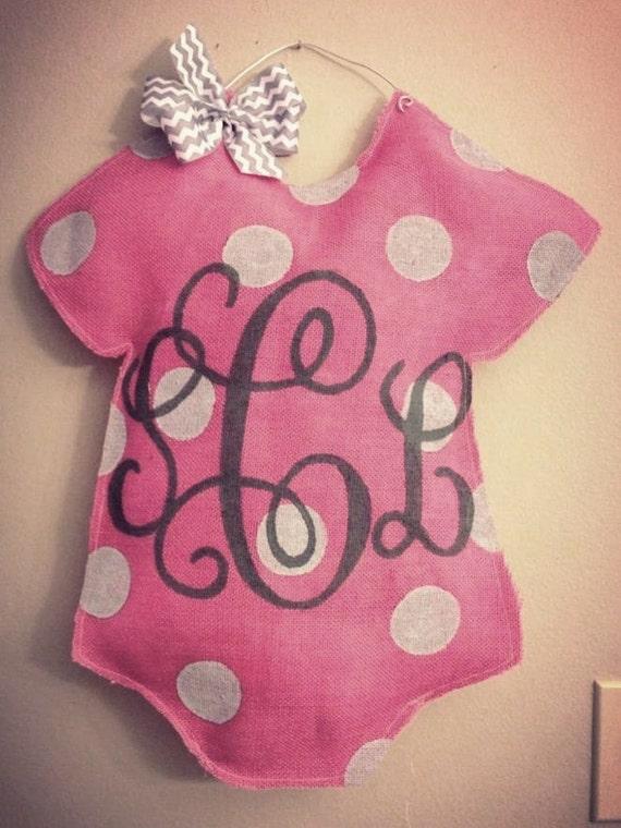 Items similar to welcome baby burlap door hanger