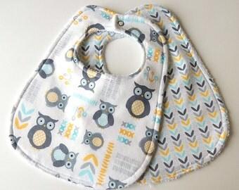 Baby Bibs - Gender Neutral Baby Bibs -Owl Baby Bibs- Owl Bibs - Yellow and Gray Bibs - Terry Cloth Bibs -Blue Yellow Bibs - Grey Yellow Bibs