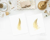 Feather Prints in Shiny Gold, Feather Art Prints, Feather Art, Poster Art Print,Gold Prints, Wall Decor Prints,Gold Office Decor Accessories
