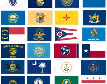 Printable Pictures State Flags Clipart Set 50 Individual State Flag Images to use for scrap booking 50 large images + Washington DC