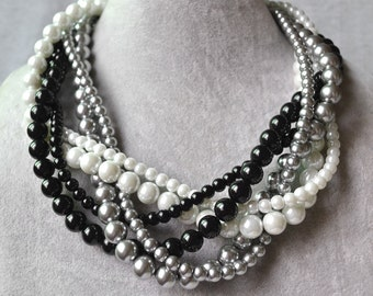 Black White Grey Pearl Necklace,6 Strands Pearl Necklaces,bridesmaid necklace,Jewelry,Wedding Necklace