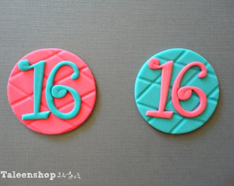 Sweet 16 cupcake toppers / fondant