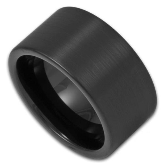 12mm wide mens black tungsten ring by rogueriverjewelry on