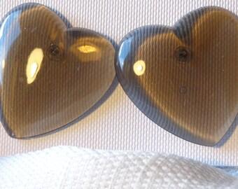 VINTAGE HEART earrings Lucite Earrings Smoke color Heart Earrings 1.25 inch Pierced Gray Heart Earrings