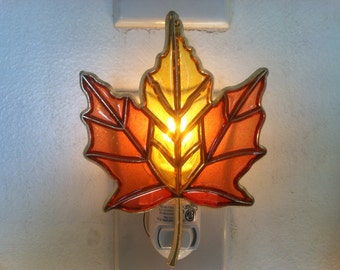 Fall Leaf night Light with  4 watt  on/off switch