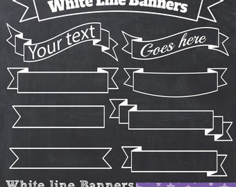 Chalkboard Banners Clip Art White Line Banners Ribbons Chalkboard Labels Transparent PNG - Instant Download