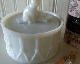 Vintage Old Glass Portieux Cat on a Drum Trinket or Powder Jar