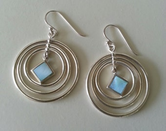 Sterling Silver Mother of Pearl Spinning Circle Earrings