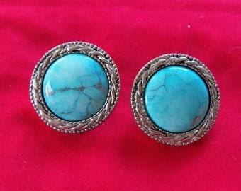 Vintage Turquoise Stone Earrings Clip On