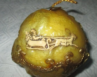 2 Vintage West Germany Wax  Ball Christmas Ornaments