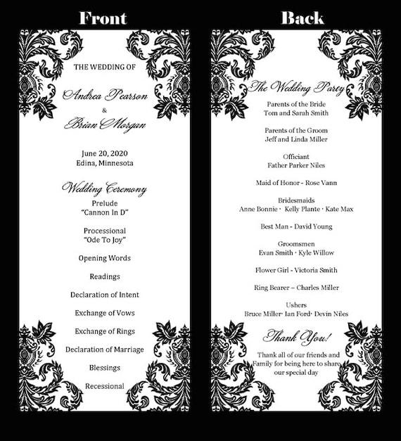 Wedding Program Template u2013 Elegant Tea Length Damask - Instant ...