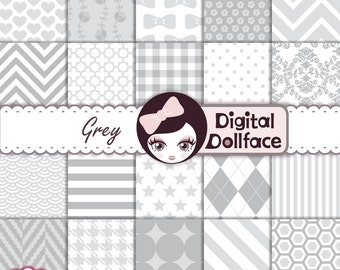 Neutral Grey Digital Paper Set, Scrapbook Paper Pack, Digital Background