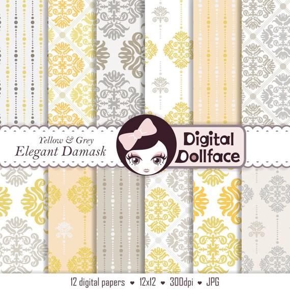 Yellow And Gray Digital Scrapbook Paper Damask Pattern Modern
