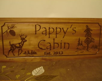 Wooden Carved Welcome Signs Cabin Lake House Plaques Personalized Pine Tree Pine Cone Deer wood carved Sign Benchmark Signs
